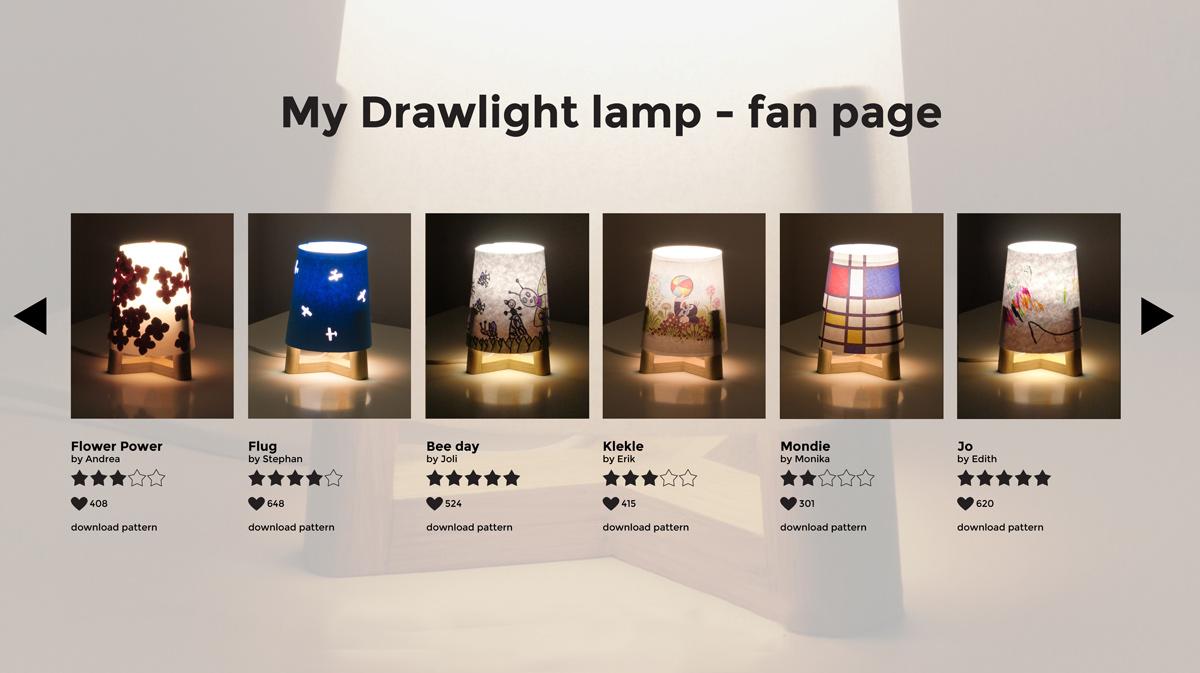 stránka, kde mohou fanoušci lampy Drawlight sdílet své nápady