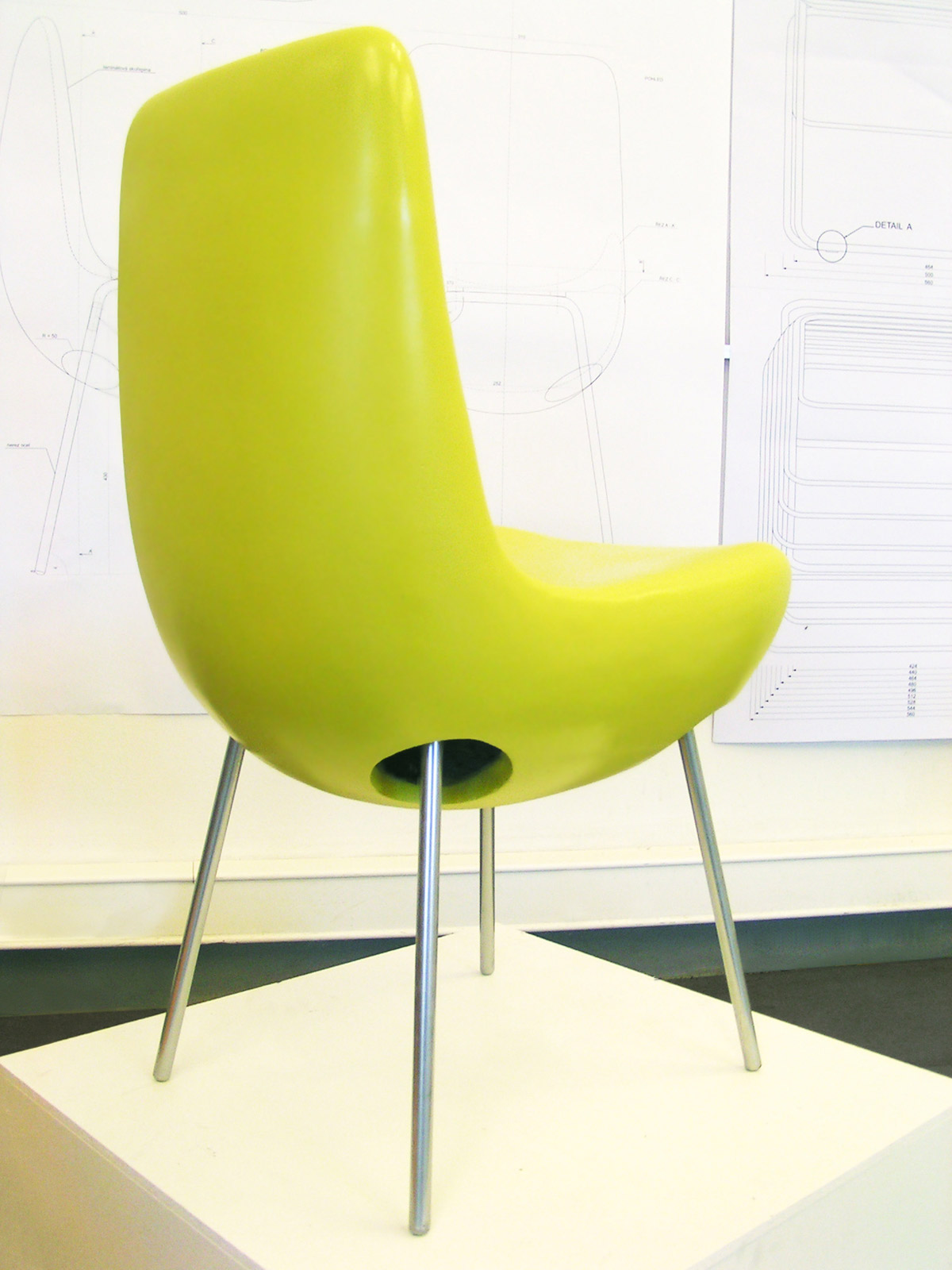 the chair is inspired with the new architectural design of National library in Prague